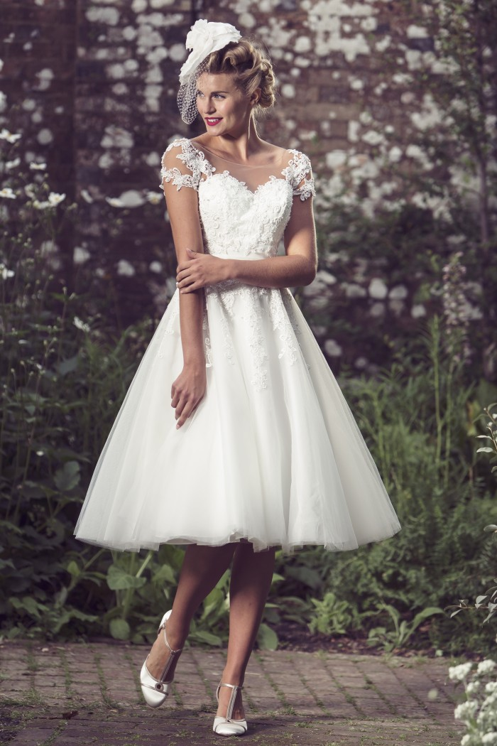 Illusion neckline short wedding dress