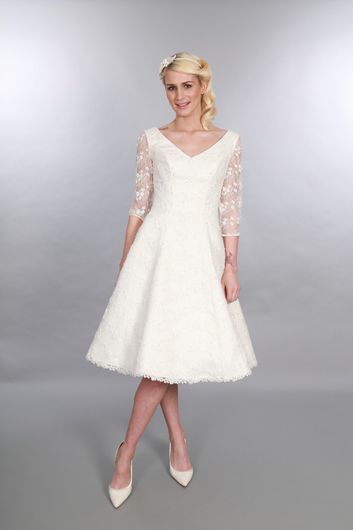 Georgia Timeless Chic Tea Length Wedding Dress Vintage Inspired V Neck Sleeves Lace Embellishment