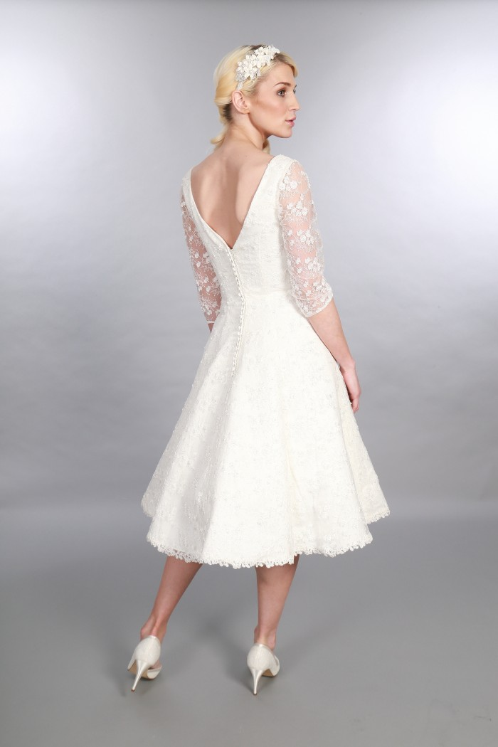 Georgia, Timeless Chic Tea Length Wedding Dress Vintage Inspired V Neck Sleeves Lace & Embellishment (4)