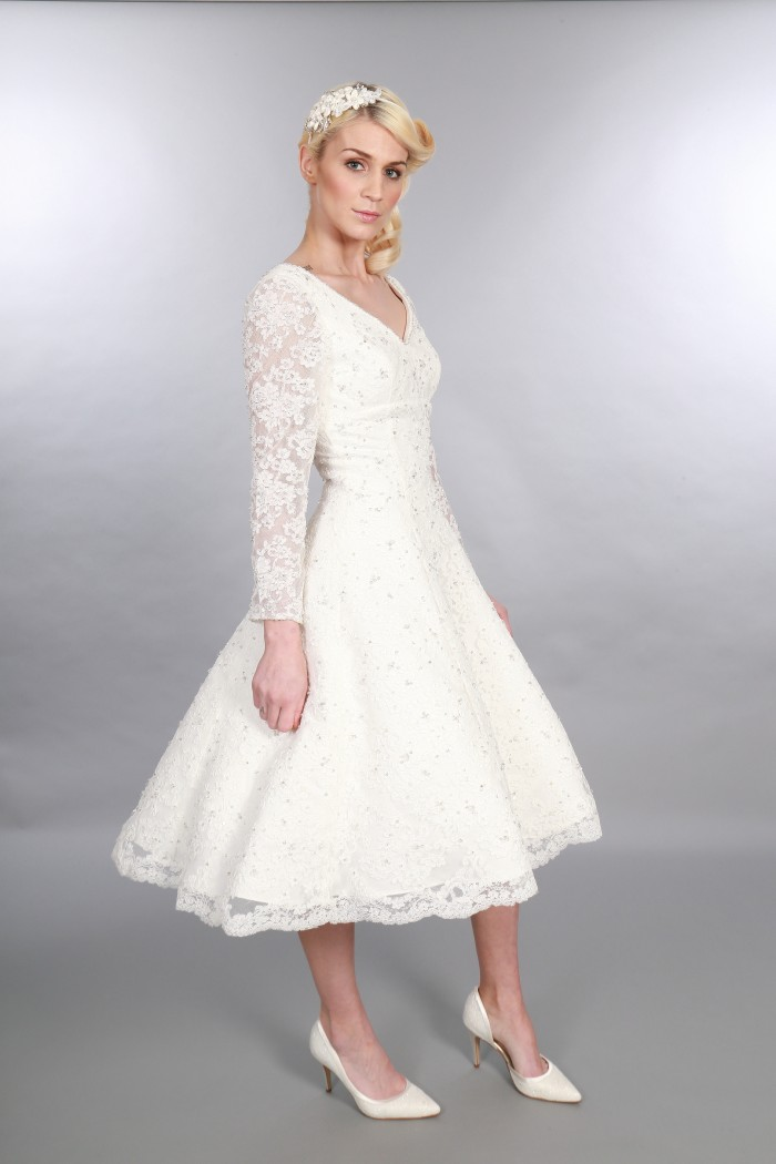 Gillian, Timeless Chic Tea Length Vintage Inspired V Neck Short Wedding Dress Long Sleeve Diamante Embellishment (1)