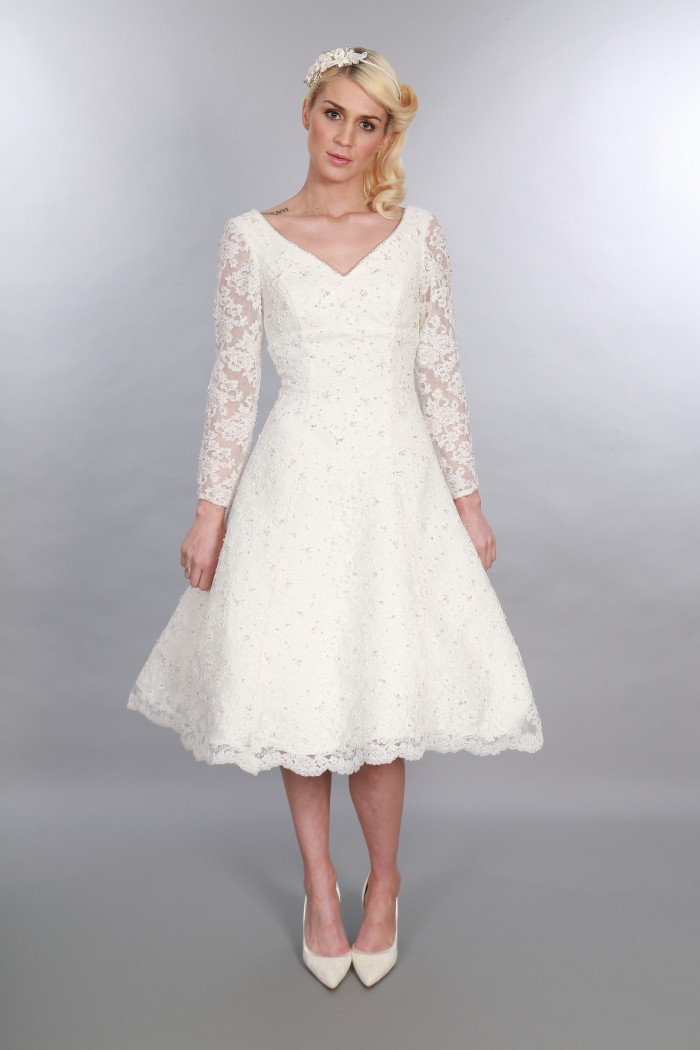 Gillian, Timeless Chic Tea Length Vintage Inspired V Neck Short Wedding Dress Long Sleeve Diamante Embellishment (2)