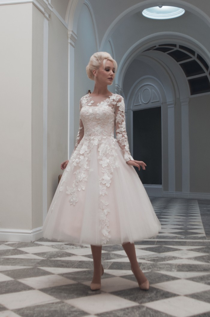 short wedding gowns for mature brides Charlotte by House of Mooshki at Cutting Edge Brides