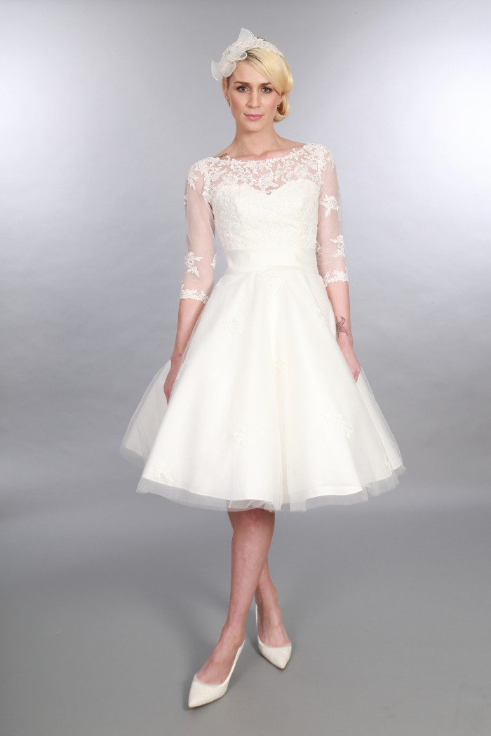 Polly - Timeless Chic Tea Length Wedding Dress Vintage Inspired Sleeves (2)