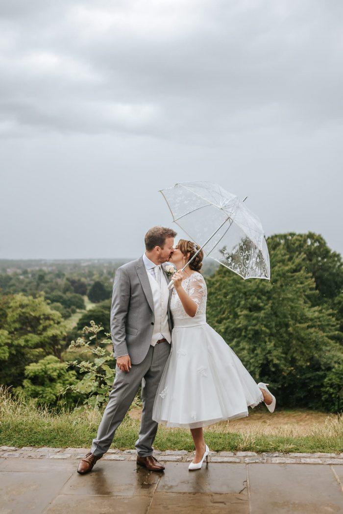 Bride Emma in Tea Length Wedding Dress 'Polly' from Cutting Edge Brides