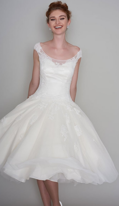 Winnie Tea length wedding dress at Cutting Edge Brides