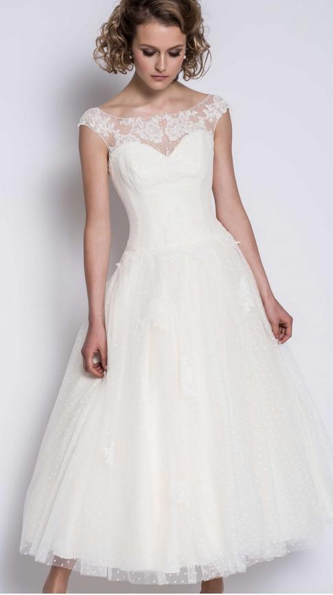 Grace calf length wedding dress at Cutting Edge Brides