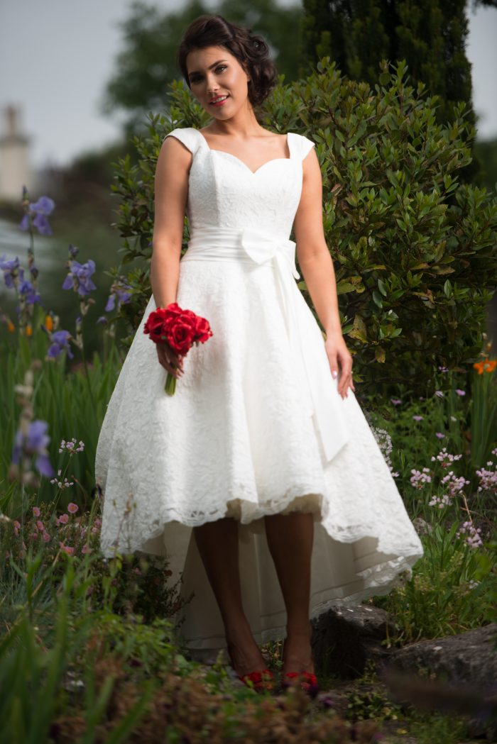 Timeless Chic Ivy Lace High Low Lace a perfect short wedding dress