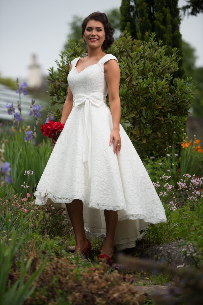 Timeless Chic Ivy Lace High Low Lace Wedding Dress exclusive to Cutting Edge Brides