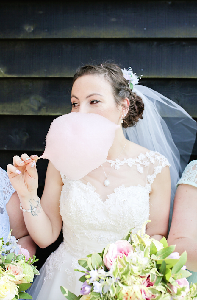 Keep cool on your wedding day - Bride wearing Rita Mae dress