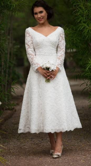 Gillian Timeless Chic - Long Sleeved Short Wedding Dress