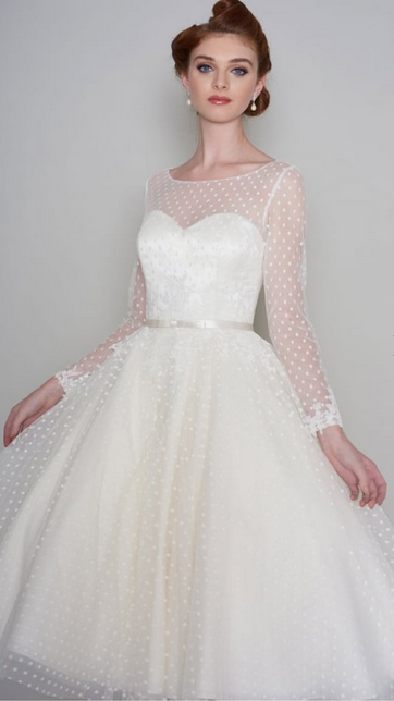 MAISIE by Loulou Bridal, Stunning Tea Length Vintage 1950s 60s Polka Dot Short Wedding Dress With Long Sleeve