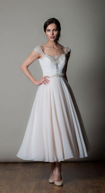 AMALFI, beautiful tea length short wedding gown by Rita Mae