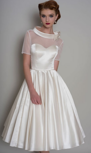 HATTIE Vintage inspired tea length satin dress - wedding dress fabric