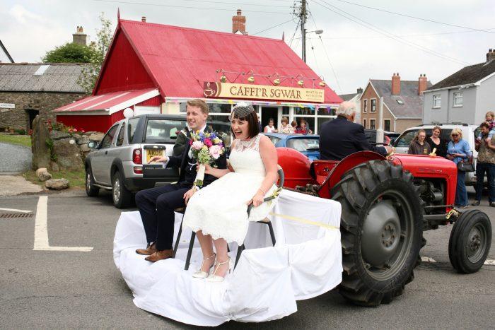 A vintage style wedding dress