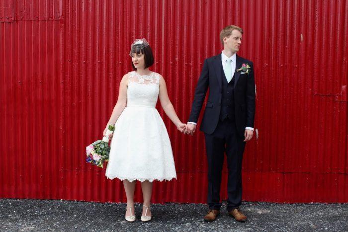 a rural wedding in a vintage style wedding dress