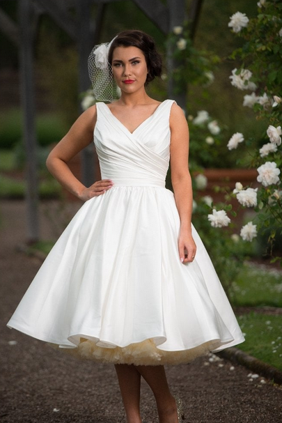 tea length wedding dresses with a 1950s style skirt