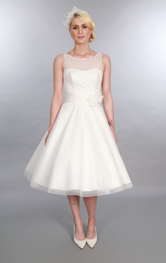 ANARA, tea length polka dot vintage style wedding dress by Timeless Chic