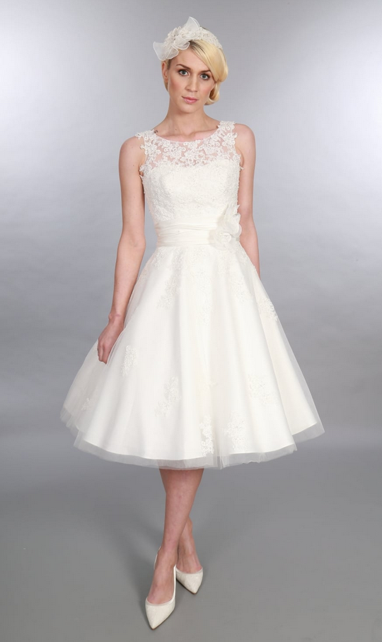 ANARA, Short Tea length Timeless Chic Wedding Dress