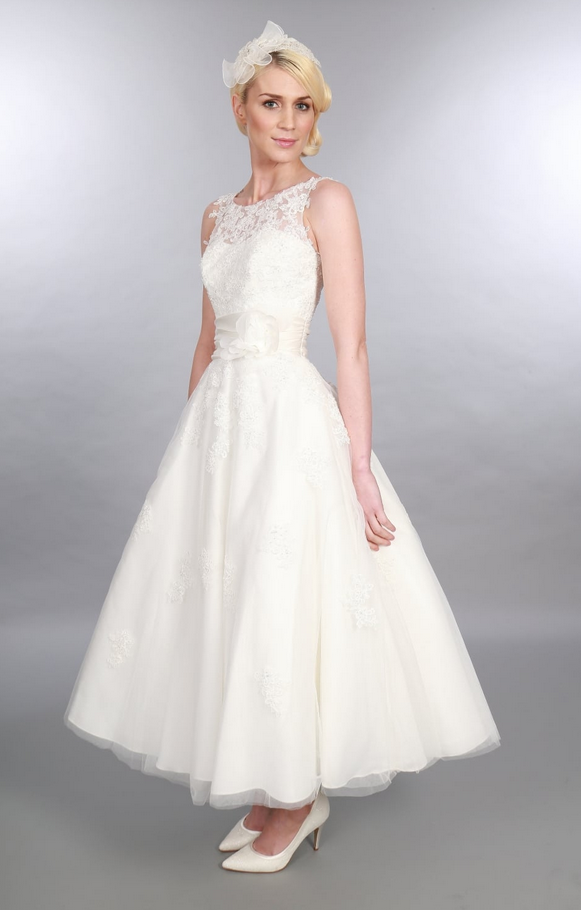 ANARA, Stunning calf Length Tulle and Lace 1950s Vintage Inspired Timeless Chic Wedding Dress