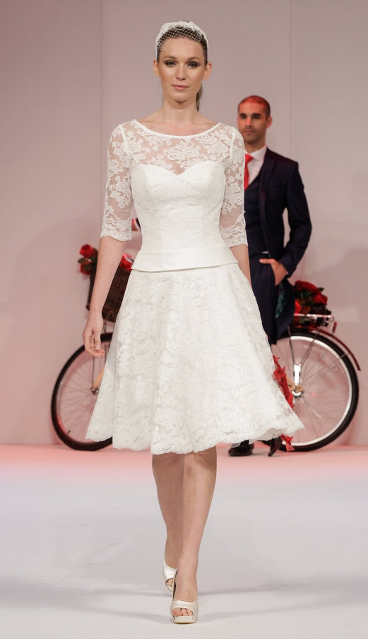 MAE Tea length lace vintage style wedding dress with sleeves