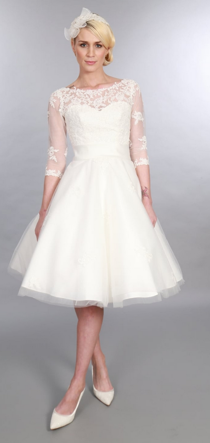 POLLY Tea Length Tulle & Lace 50s 60s with 3/4 sleeves by Timeless Chic Wedding Dress