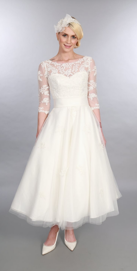 POLLY Calf Length Vintage Style Timeless Chic Wedding Dress With Sleeves
