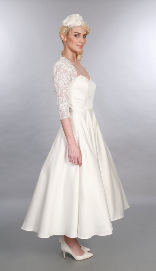 Edith Calf Length Satin 1950s Vintage Style Wedding Dress