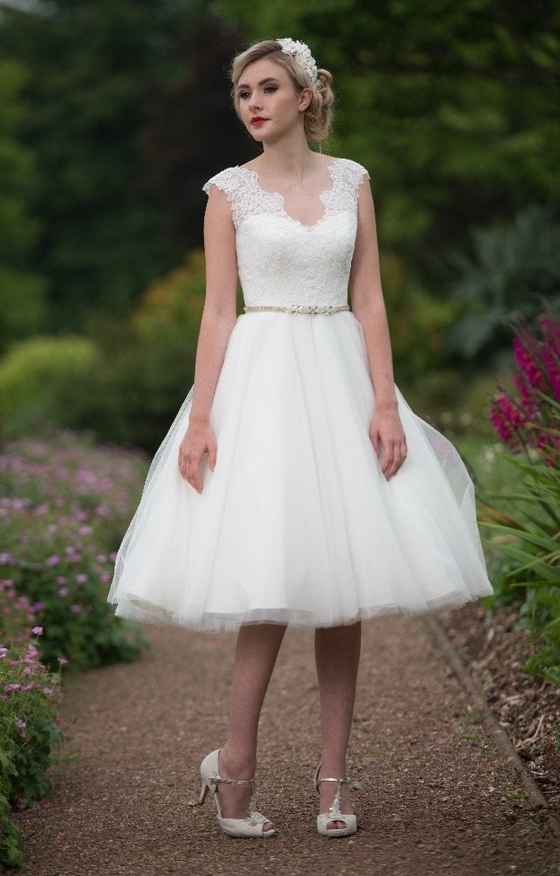 Barbara Tea Length Short Wedding Dress