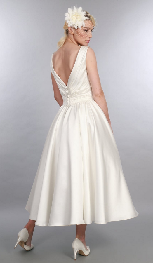 BETSY Satin - Beautiful Timeless Chic calf length satin v neck wedding dress