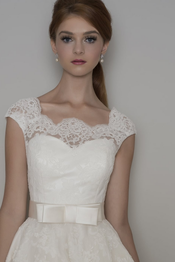 Florrie vintage inspired tea length lace short wedding dress dress, button detail down the back, trimmed with a bow belt