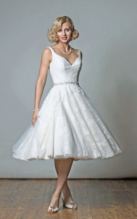 VICTORIA Tea Length Lace Short Wedding Dress With Strap by Rita Mae - Alan Hannah