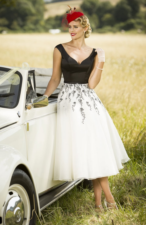 coloured short wedding dress