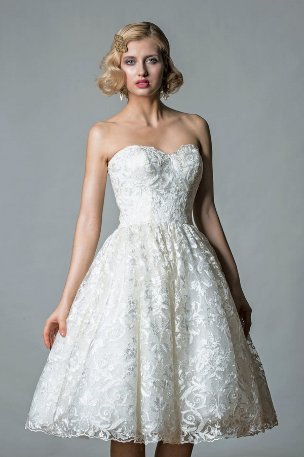 Emily by Rita Mae - A stunning Strapless Gold Embroidered Lace 1950s 60s Vintage Inspired Tea Length Short Wedding Dress