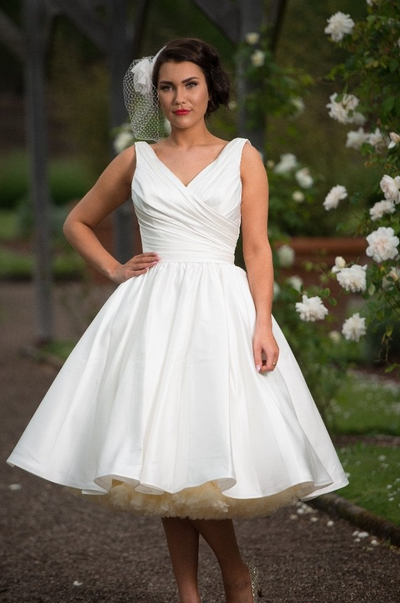 satin short wedding dresses