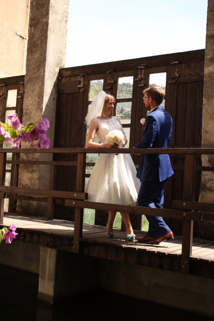 Lake Garda wedding with cutting edge brides. Destination Wedding Dress