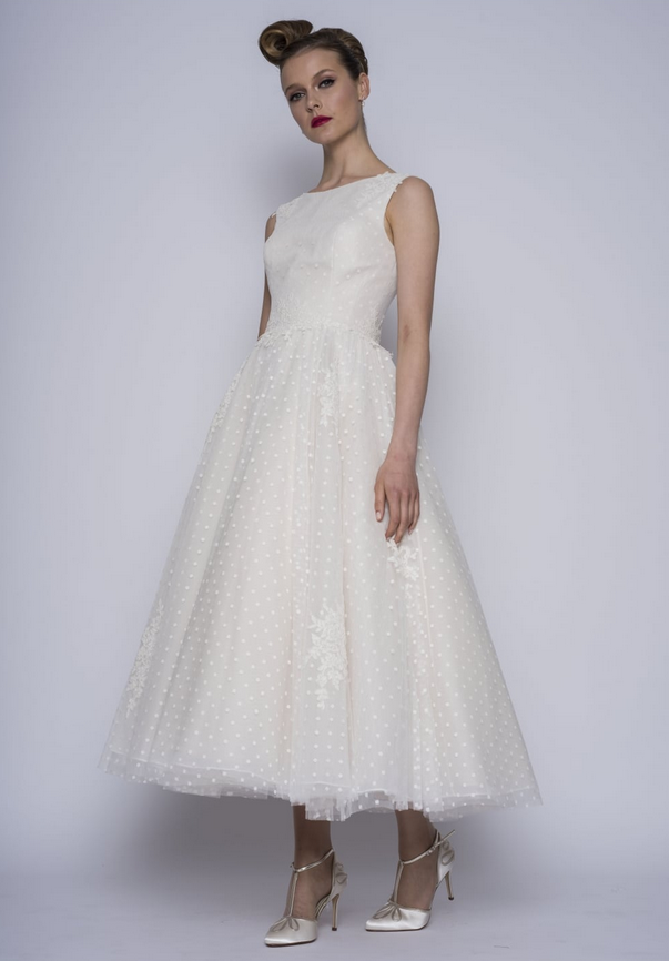 Ruthie by Loulou bridal. One of their polka dot short wedding dresses