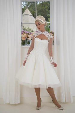 ae0b3c8df Delicate lace applique covers the shoulders, decorates the cuffs and  scatters onto the tulle skirt. Shown in ivory but available in over 80  colours.