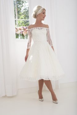 Adorable Vintage-Style Custom-Made Heavy Silk and Beaded Classic White Tea Length Gown with Buttoned Back