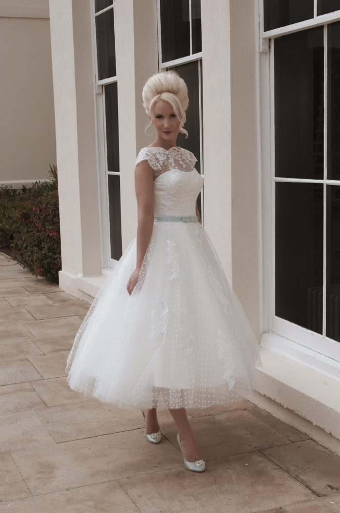 Capped sleeve tea length wedding dresses