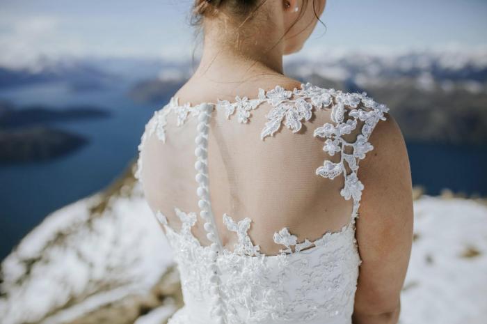Short retro style wedding gown at Cutting Edge Brides