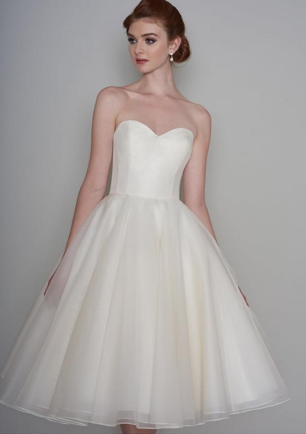 vintage style short wedding dresses at cutting edge brides - Ella a silk ivory short wedding dress