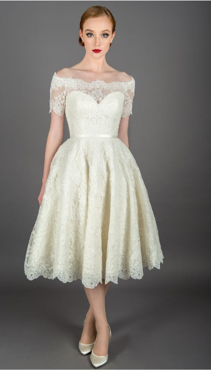Nina by Loulou bridal showing short off the shoulder wedding dresses