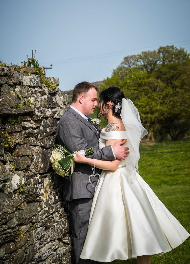 rustic cornish wedding wearing callie by Loulou bridal