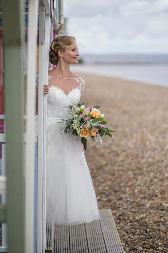 short wedding dress at seaside