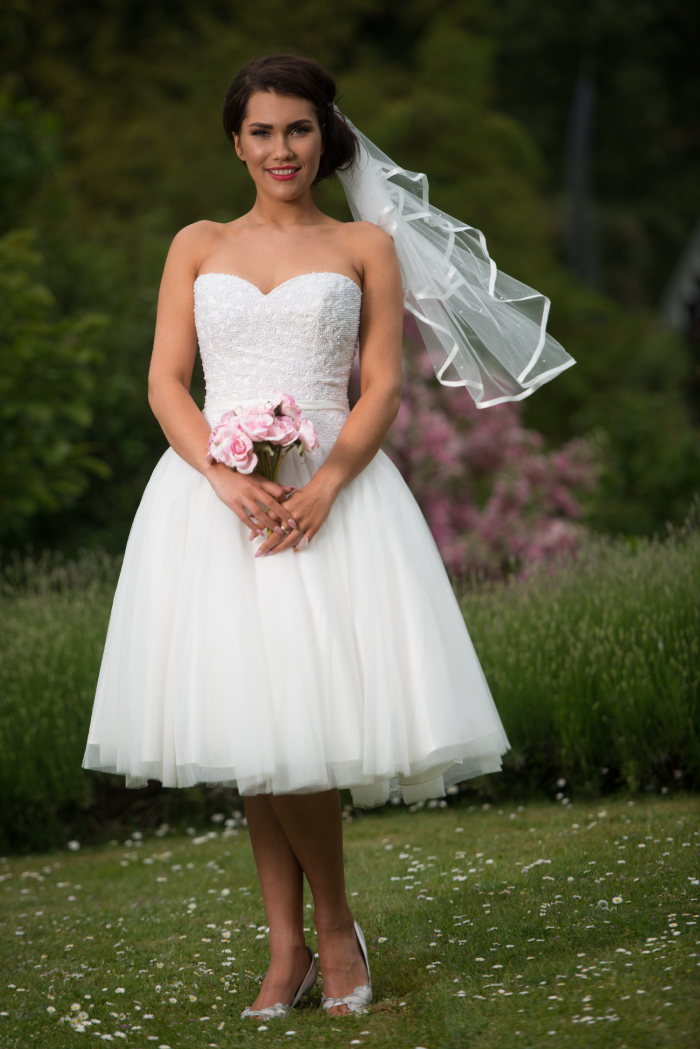 cutting edge brides Timelss Chic 'Katie Belle' short wedding dress