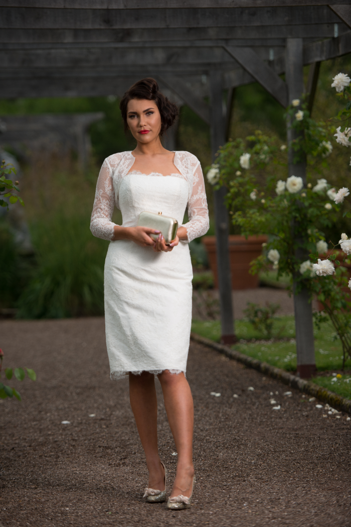 Timeless Chic short wedding dresses available at Cutting Edge Brides. Great alternative tea length wedding dress