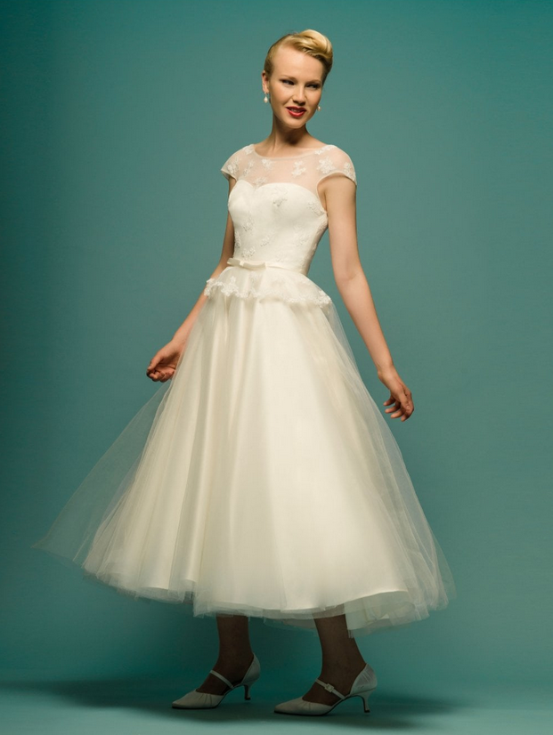 Wearing a tea length dress like Jaslin by Loulou bridal is one of the reasons to love getting married