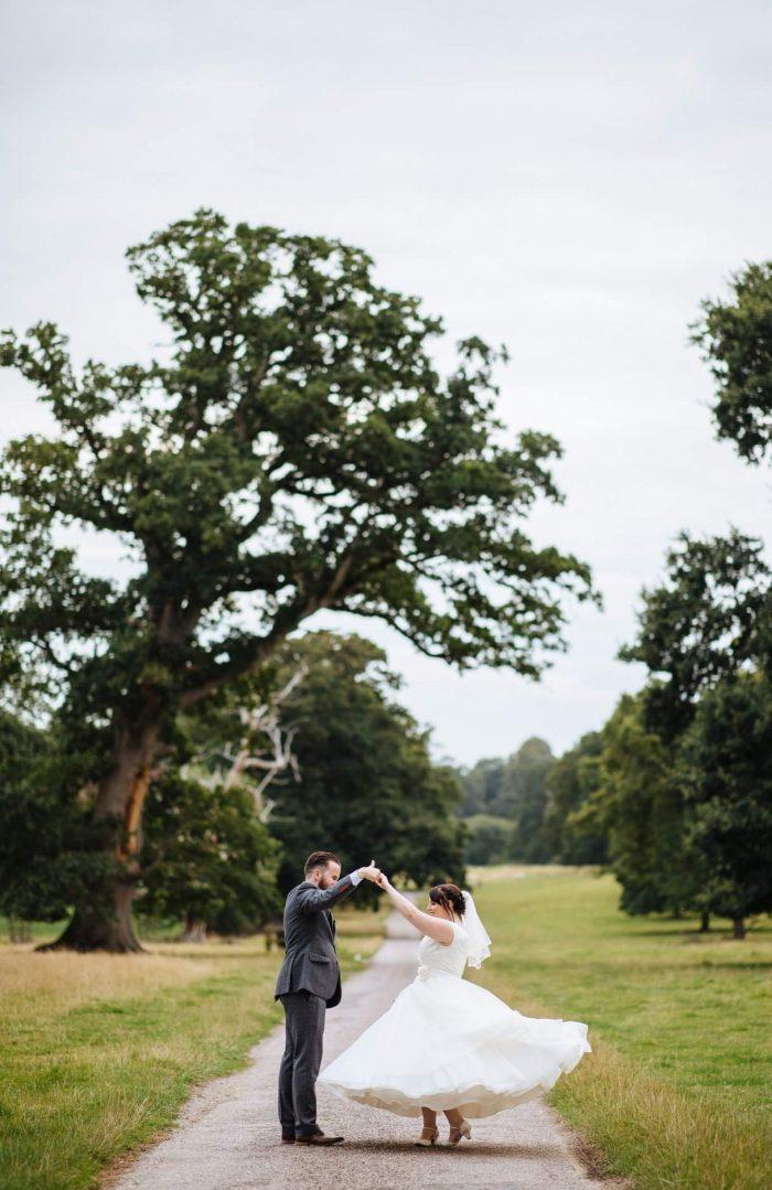 a stunning calf length wedding dress at cutting edge brides