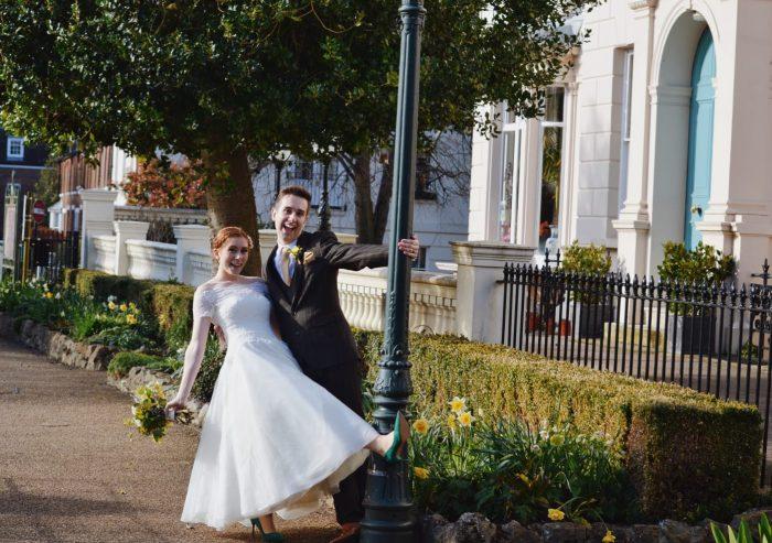Ellise wearing Off the shoulder wedding dress