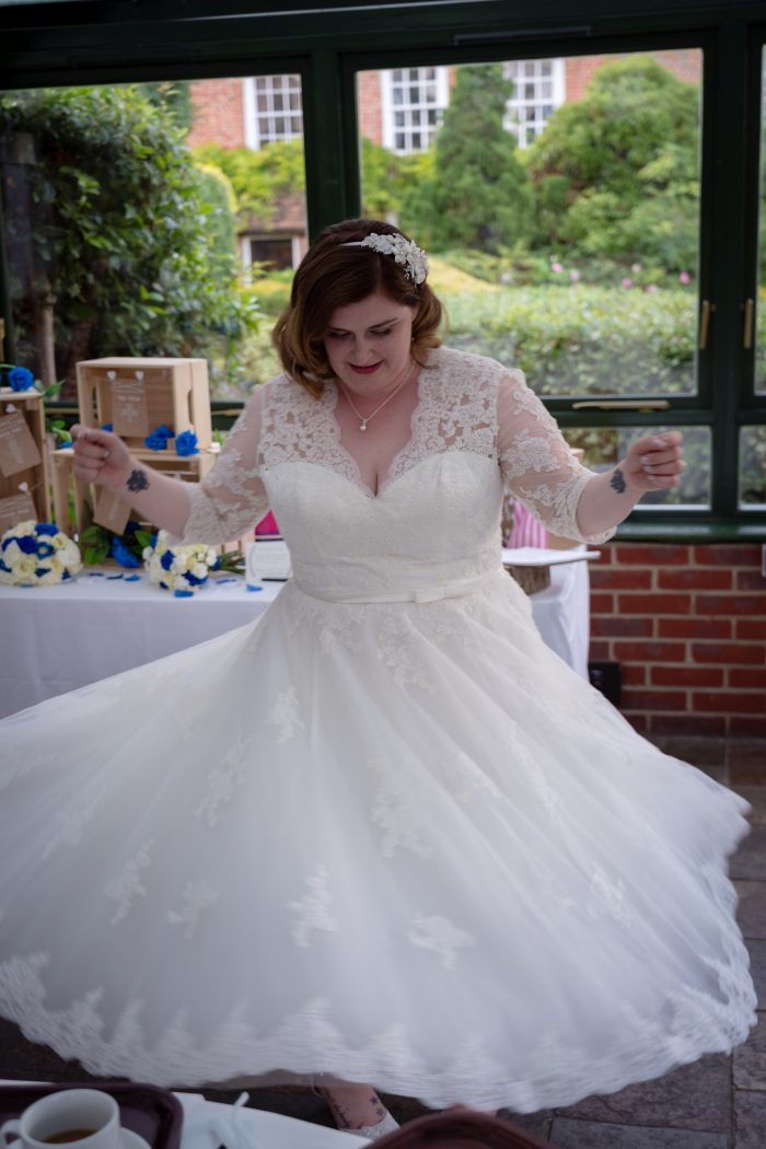 Cutting Edge Brides - real bride wearing 'Rosie' a Lace Tea-Length Wedding Dress